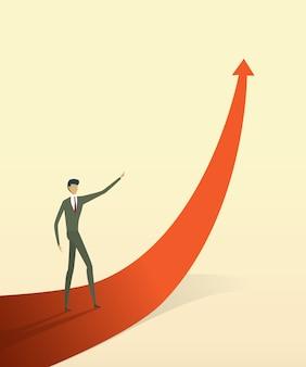 Gli uomini d'affari con sulla freccia vanno verso l'obiettivo o l'obiettivo