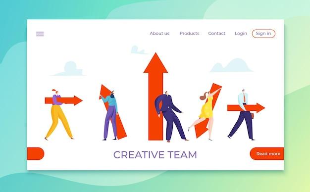 Uomini d'affari con direzione diversa, illustrazione della freccia del team creativo