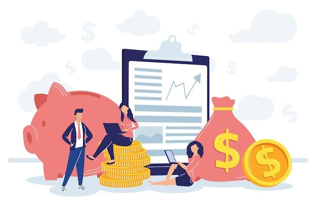 Uomini d'affari con finanziaria