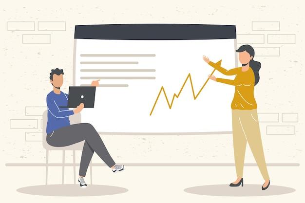 Uomini d'affari con laptop e infografica in ufficio