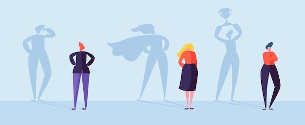 Uomini d'affari con l'ombra del vincitore. personaggi maschili e femminili con sagome di leadership, successo e motivazione.