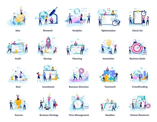 La gente di affari lavora nel grande set di squadra. raccolta di lavoro di squadra creativo. simbolo di successo e industria finanziaria. illustrazione