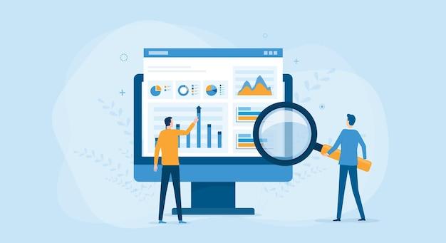 Uomini d'affari che lavorano per l'analisi e il monitoraggio dei dati