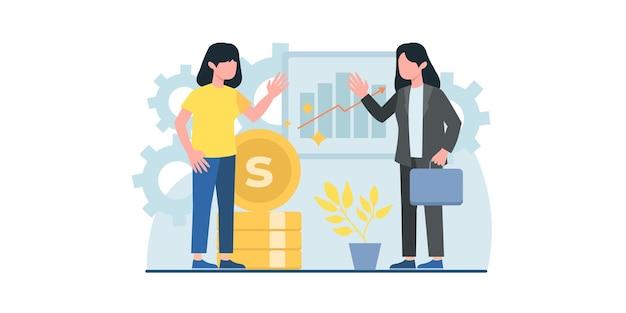 Persone d'affari che lavorano illustrazione piatta può essere utilizzato per i modelli di progettazione di pagine web che si incontrano online