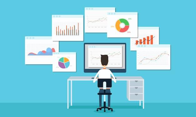 Uomini d'affari che lavorano sul cruscotto del monitor grafico