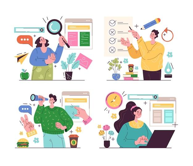 La gente di affari che lavora al nuovo progetto di affari ha messo l'illustrazione moderna di stile del fumetto di progettazione grafica Vettore Premium