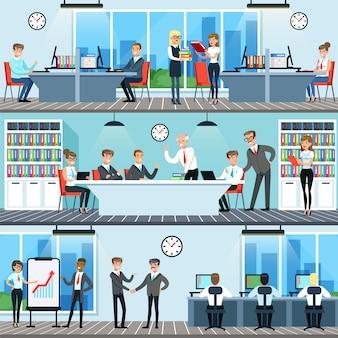 Gente di affari che lavora nel set per ufficio, uomini e donne che hanno conferenze e riunioni per illustrazioni orizzontali di collaborazione aziendale