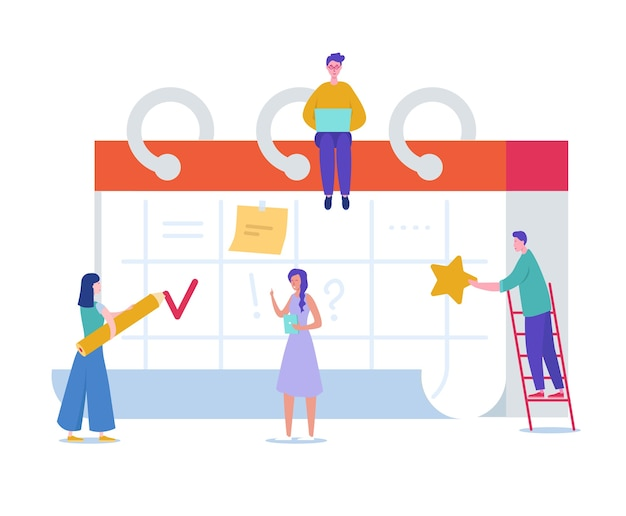 Gente di affari che lavora nei tempi previsti. personaggi minuscoli pianificazione progetto di lavoro sul calendario da tavolo. promemoria, concetto di tabella di tempo. uomo e donna che lavorano insieme.