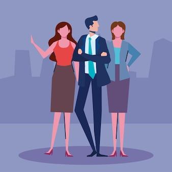 Persone d'affari tre personaggi