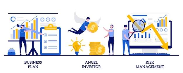 Business plan, angel investor, concetto di gestione del rischio con persone minuscole. set di sviluppo di avvio. imprenditore, crowdfunding online, capitale di investimento.