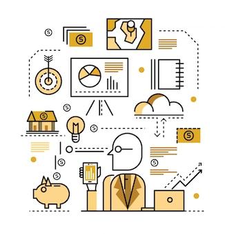 Concetto di business plan. icone a linea piatta. illustrazione vettoriale