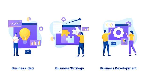 Insieme dell'illustrazione del concetto di business plan