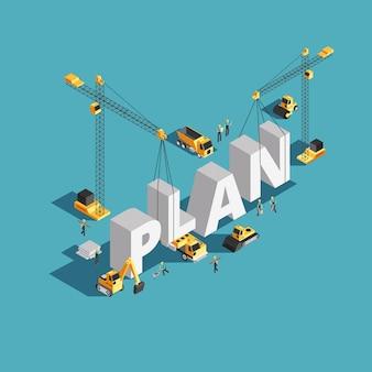 Concetto isometrico di creazione 3d del business plan con gli operai ed il macchinario di costruzione