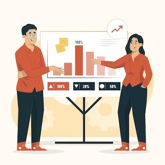 Illustrazione di concetto di presentazione del piano aziendale