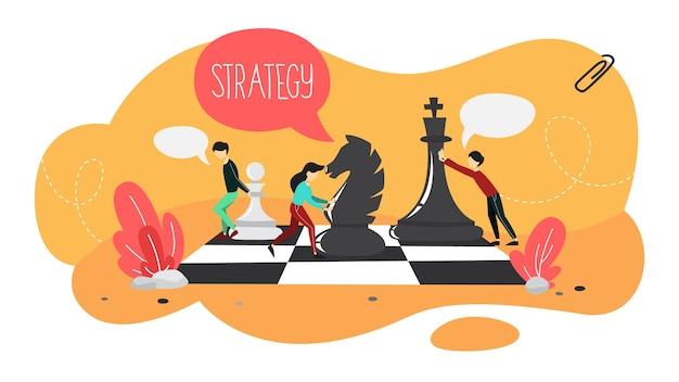 Piano aziendale e concetto di strategia. le persone giocano a scacchi su una scacchiera gigante. fare ricerche finanziarie e analisi degli obiettivi. organizzazione degli affari. set di icone colorate. appartamento isolato