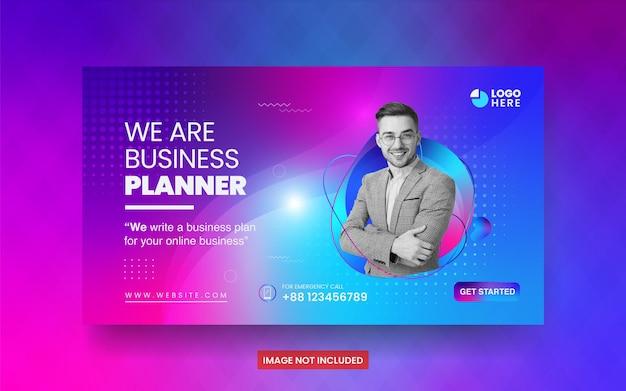 Progettazione di volantini per agenzie di promozione marketing di business planner e modello di banner per social media aziendali