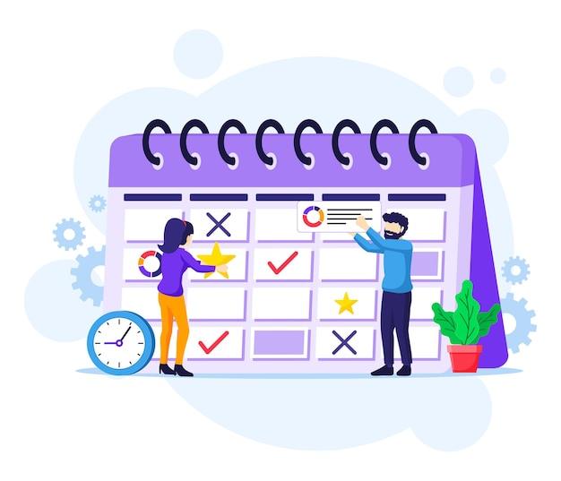 Concetto di pianificazione aziendale, persone che compilano il programma su un calendario gigante, illustrazione di lavori in corso