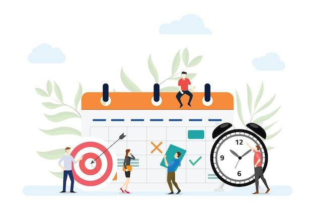 Il concetto di pianificazione aziendale con le persone gestisce il programma sul calendario con uno stile piatto moderno