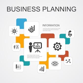Business planning infografica 10 icone di linea modello.gestione, progetto, ricerca, strategia semplici icone