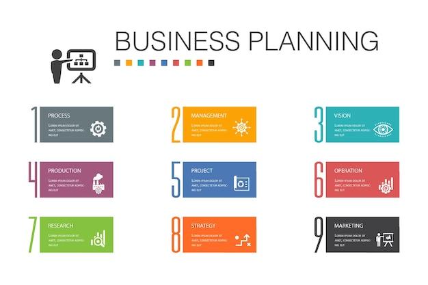 Business planning infografica 10 linea di opzioni concept.gestione, progetto, ricerca, strategia semplici icone