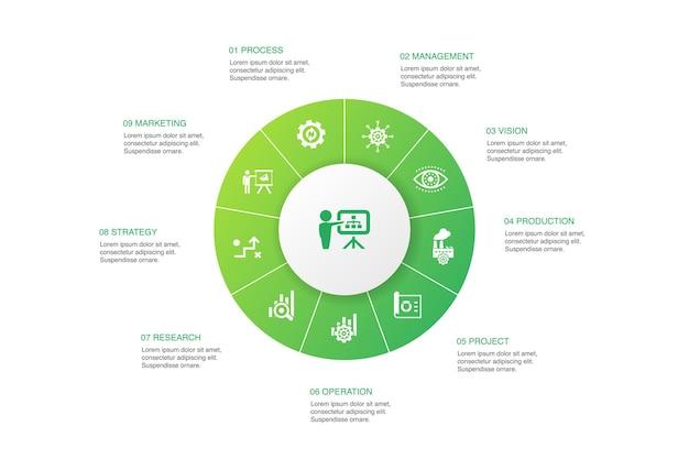 Pianificazione aziendale infografica 10 passaggi cerchio design.gestione, progetto, ricerca, strategia semplici icone
