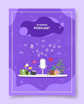 Concetto di podcast aziendale per modello di banner