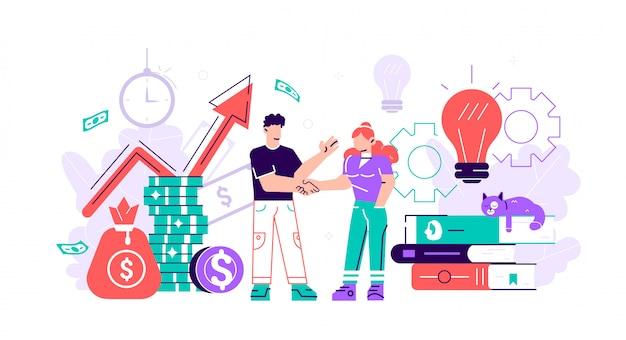 Il business fa il portiere di una squadra di successo l'investitore detiene denaro in idee. finanziamento di progetti creativi. stretta di mano di affari dell'uomo e della donna. illustrazione di affari stile piatto su sfondo bianco.