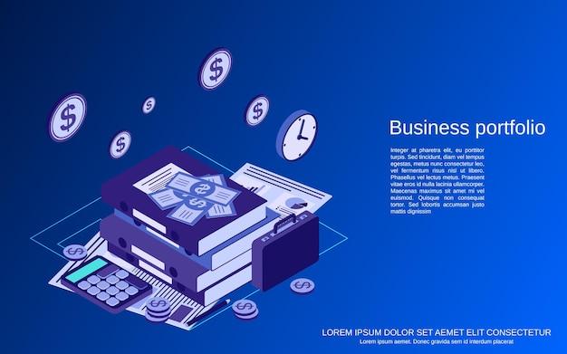 Concetto di vettore isometrico piatto 3d del portafoglio aziendale