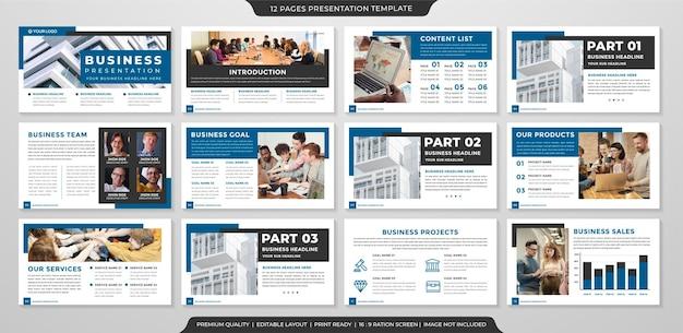 Modello di layout aziendale ppt con uso di stile pulito e minimalista per il portafoglio aziendale