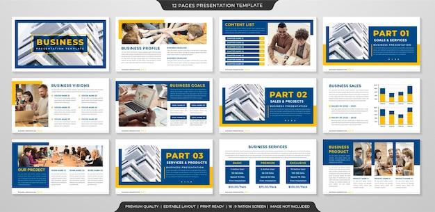 Modello di layout diapositiva ppt aziendale con uno stile minimalista e pulito