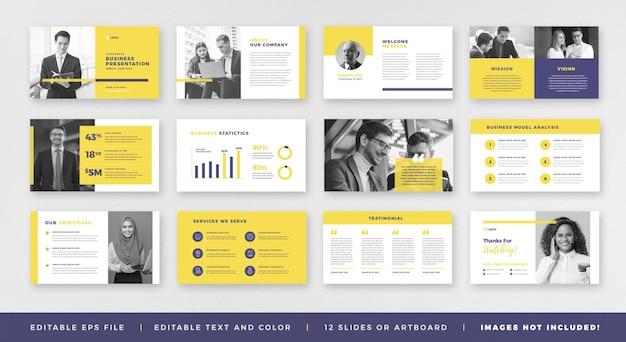 Presentazione aziendale brochure guide design o pitch deck slide template o guida alle vendite slider