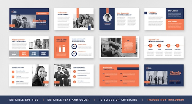 Brochure di presentazione aziendale guida alla progettazione o al modello di diapositiva della presentazione delle presentazioni o al dispositivo di scorrimento della guida alle vendite