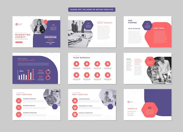 Guida alla presentazione di brochure aziendali design   modello di diapositiva powerpoint   cursore della guida alle vendite