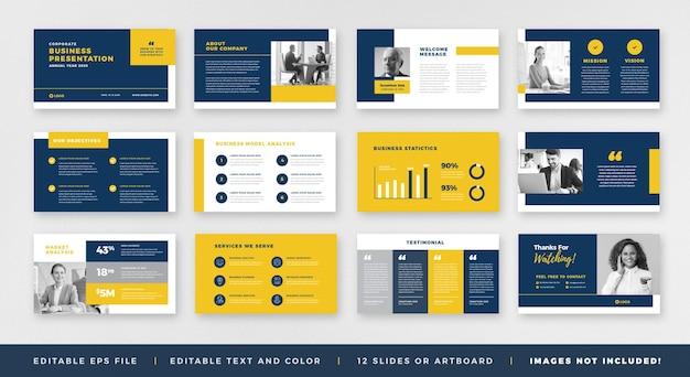 Progettazione della guida dell'opuscolo di presentazione aziendale o modello di diapositiva powerpoint o cursore della guida alle vendite