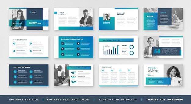 Progettazione della guida dell'opuscolo di presentazione aziendale o modello di diapositiva o cursore della guida alle vendite