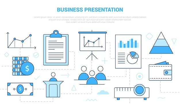 Concetto di presentazione aziendale con set di icone modello con stile moderno di colore blu