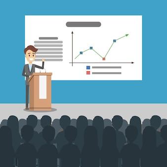 Illustrazione di presentazione aziendale. uomo che presenta con bordo.