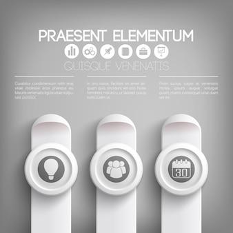 Modello di infografica presentazione aziendale in colori grigi con icone di testo su cerchi e rettangoli verticali