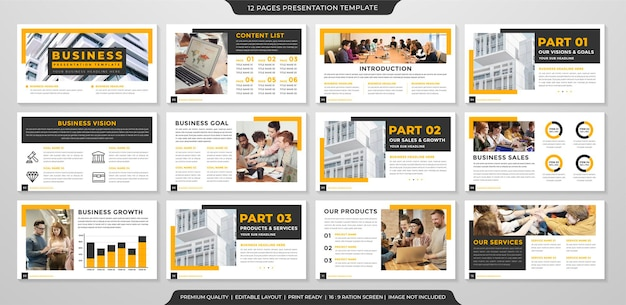 Design del modello di layout di presentazione aziendale con un concetto pulito e un uso in stile minimalista per la presentazione aziendale e il profilo aziendale
