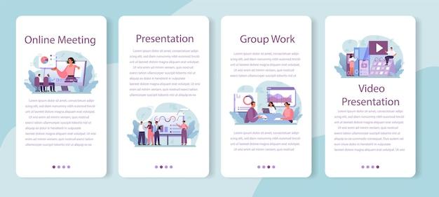 Set di banner per applicazioni mobili di presentazione aziendale.