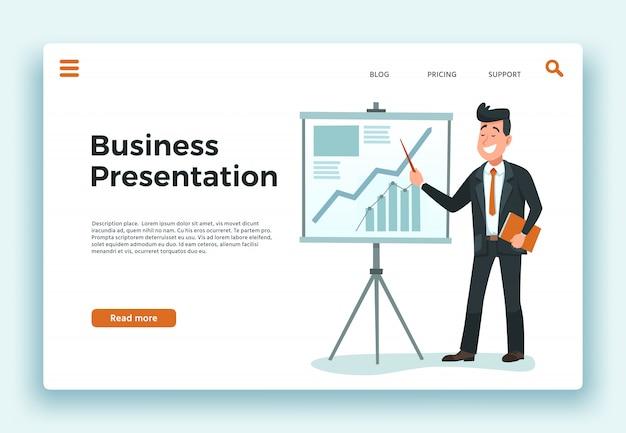 Presentazione aziendale. uomo d'affari del presentatore, grafico crescente di programma e illustrazione felice di vettore del fumetto della pagina di atterraggio del lavoratore
