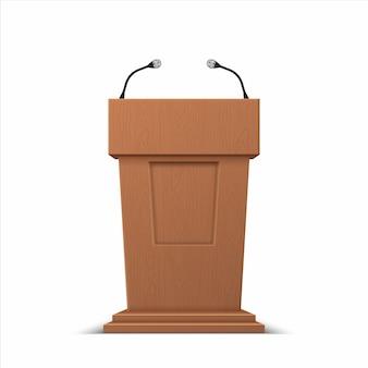 Stand di presentazione aziendale con microfoni
