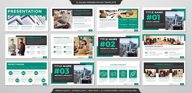 Modello di presentazione aziendale in stile minimalista