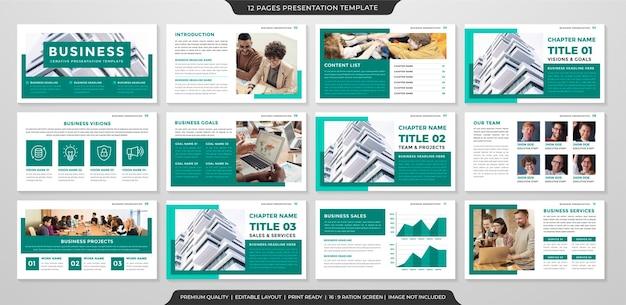 Modello di presentazione aziendale con uno stile minimalista e pulito