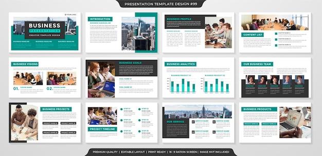 Modello di presentazione aziendale con concetto minimalista e stile premium
