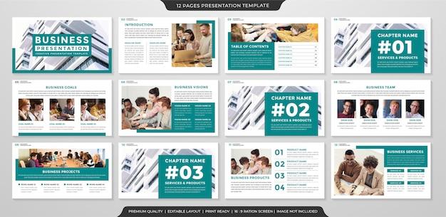 Modello di presentazione aziendale con stile minimalista