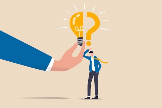 Problema aziendale, idea, processo decisionale e soluzione, concetto di percorso di lavoro e carriera