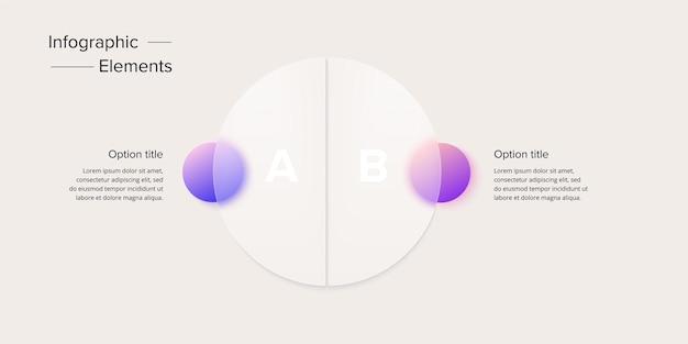 Infografica del grafico dei processi aziendali con cerchi in 2 fasielementi grafici circolari del flusso di lavoro aziendale
