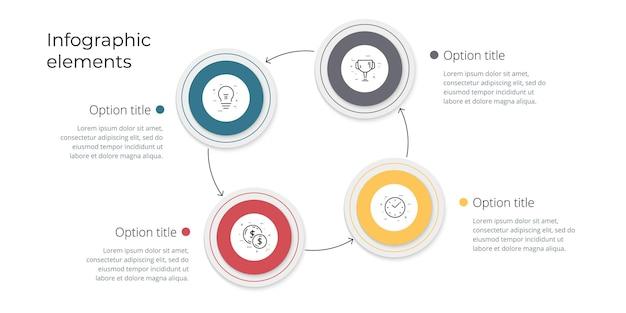 Infografica del grafico dei processi aziendali con 4 opzioni di passaggio grafica quadrata del flusso di lavoro aziendale