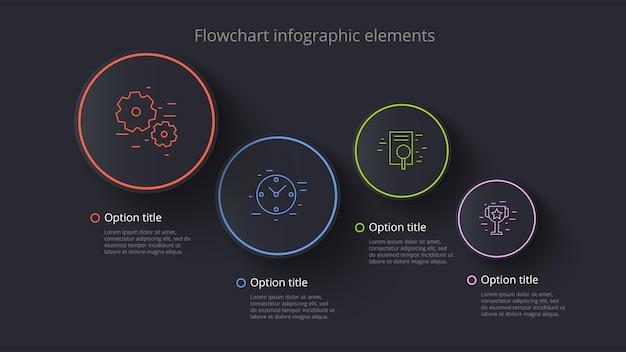 Infografica del grafico dei processi aziendali con segmenti a 4 fasi infograph della timeline aziendale circolare elem